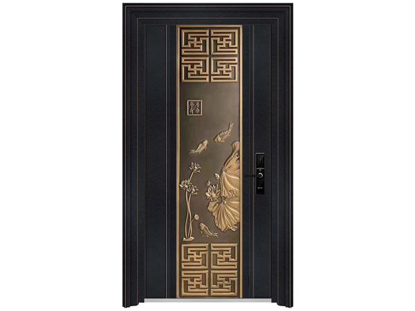 汉仁铝艺防爆门新中式豪华精雕铸铝门
