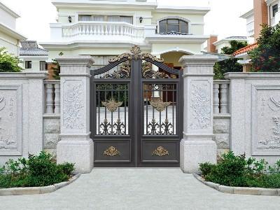 广东铝艺庭院别墅大门厂家 汉仁铝艺一键下单上门安装!