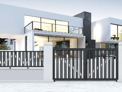 电动平移门里轻量级镂空透光铝艺别墅门