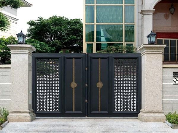 定制欧式别墅庭院铝艺大门 庭院铝合金双开推拉门