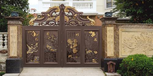 没有立柱的话铝艺别墅门有哪些固定的方法呢?