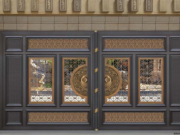 别墅入户门,加工定制铝艺对开门