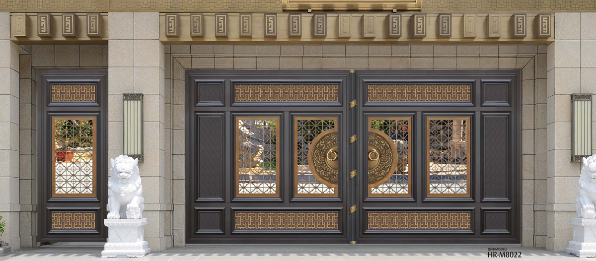 别墅入户门加工定制铝艺对开门