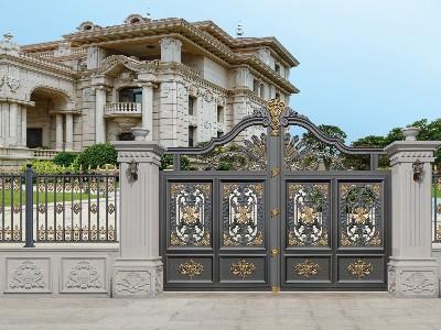 铝艺别墅门装饰雕花是镂空吗?