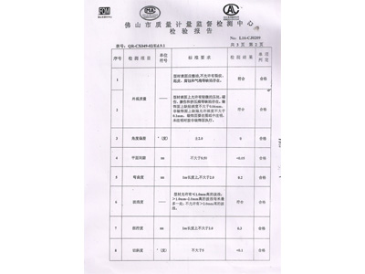 汉仁铝合金室内装饰型材ZY-001基材检验报告第二页