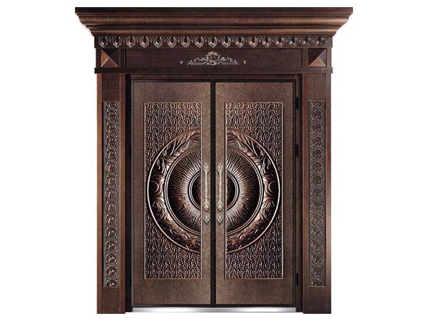 铝艺防火防爆门,中式铸铝木纹别墅家居平开大门