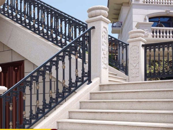 铝艺楼梯扶手,玻璃铝合金楼梯扶手,防护栏
