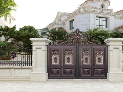 农村别墅大门用什么材质好 汉仁铝艺百年不生锈!