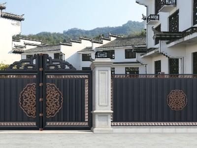 别墅院庭大门仿古式中式 精致大门定制选汉仁铝艺!