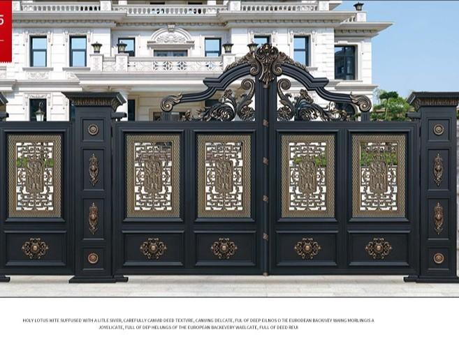 佛山铝艺别墅门厂家 铝艺庭院大门 新中式豪华庭院门