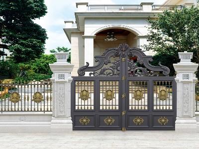 广州市铝艺别墅门定制安装 选择汉仁铝艺就近服务!