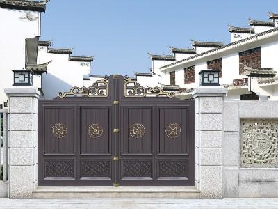 别墅大门中式古典风格定制加工 汉仁铝艺在线报价!