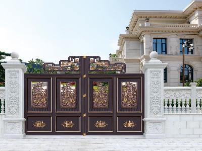 别墅大门定制厂家汉仁铝艺浅谈门头花件代表的寓意